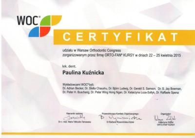 Demed ortodonta Kuznicka Paulina WOC Kongres 2015 04 22-25